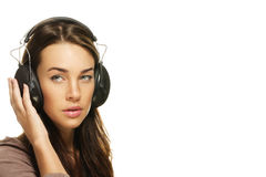 Beautiful woman listening to music Stock Photos