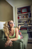 Beautiful woman listening to the music Royalty Free Stock Photos