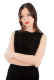 Beautiful woman in little black dress isolated Stock Images