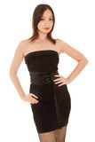 Beautiful woman in little black dress isolated Royalty Free Stock Photos