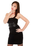 Beautiful woman in little black dress isolated on white Stock Photo