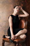 Beautiful woman in little black dress Royalty Free Stock Photography