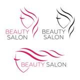 Beautiful woman  logo template for hair salon Royalty Free Stock Image