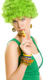 Beautiful woman with lollipop Royalty Free Stock Photography