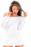Beautiful woman with lollipop Royalty Free Stock Photos