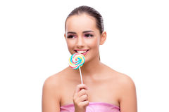 The beautiful woman with lollipop isolated on white Royalty Free Stock Photos