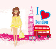 Beautiful woman in London vector illustration