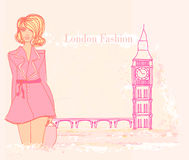 Beautiful woman in London stock illustration