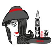 Beautiful woman in London , abstract card stock illustration