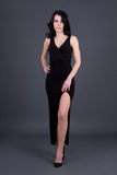Beautiful woman in long black dress over grey Stock Images