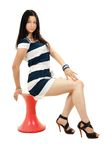 Beautiful woman with long black hair Stock Photos