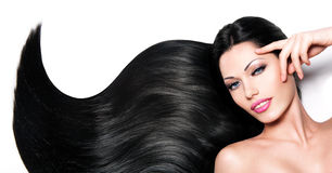 Beautiful woman with long black hair Royalty Free Stock Image