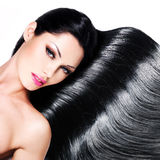 Beautiful woman with long black hair Stock Photography