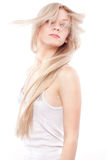 Beautiful woman with long blond hair Stock Images