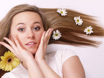Beautiful woman with long blond hair Stock Photography