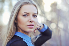 Beautiful woman with long blond hair. Close up portrait  Royalty Free Stock Image