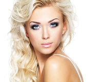 Beautiful woman with long blond hair Stock Photos