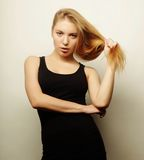 Beautiful woman with long blond hair. Royalty Free Stock Photography