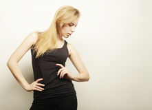 Beautiful woman with long blond hair. Stock Photography