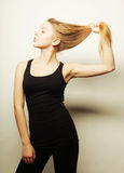 Beautiful woman with long blond hair. Stock Image
