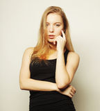 Beautiful woman with long blond hair. Stock Images