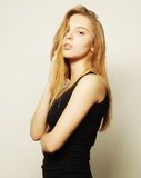 Beautiful woman with long blond hair. Royalty Free Stock Image