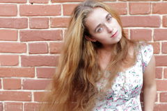 Beautiful woman with long blond hairs Stock Image