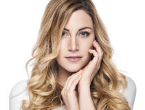 Beautiful woman with long blond hairs. Royalty Free Stock Images