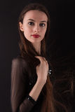 Beautiful Woman With Long Blowing Hair royalty free stock photography
