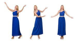 The beautiful woman in long blue dress isolated on white Royalty Free Stock Images
