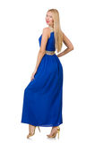 The beautiful woman in long blue dress isolated on Stock Image