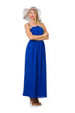 The beautiful woman in long blue dress isolated on Royalty Free Stock Photos