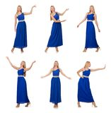 The beautiful woman in long blue dress isolated on white Stock Image