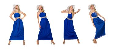The beautiful woman in long blue dress isolated on white Stock Photography