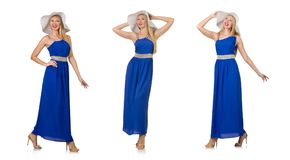 The beautiful woman in long blue dress isolated on white Royalty Free Stock Photo
