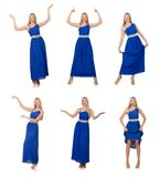 The beautiful woman in long blue dress isolated on white Royalty Free Stock Photos