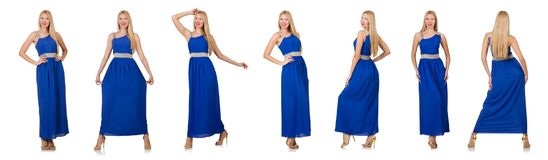 The beautiful woman in long blue dress isolated on white Royalty Free Stock Image