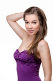 Beautiful woman with long brown hair Stock Photo