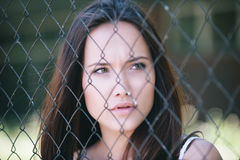 Beautiful woman. With long brown hair Stock Photos