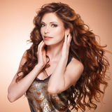 Beautiful woman with long brown hair. Royalty Free Stock Photo