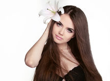 Beautiful woman with long brown hair. Closeup portrait of fashio Royalty Free Stock Photo