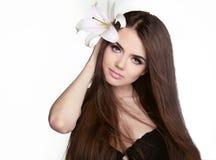 Beautiful woman with long brown hair. Closeup portrait of fashio Royalty Free Stock Photo