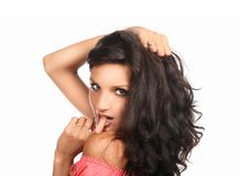 Beautiful woman with long brown hair. Closeup portrait of a fashion model posing at studio. Royalty Free Stock Photo