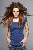 Beautiful woman with long brown hair Stock Photography