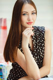 Beautiful woman with long brown hair. Royalty Free Stock Images
