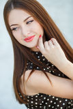 Beautiful woman with long brown hair. Stock Image