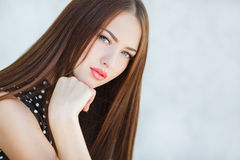 Beautiful woman with long brown hair. Royalty Free Stock Image