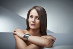Beautiful woman with long brown straight hairs Royalty Free Stock Images