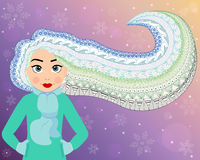 Beautiful woman with long curly hair made in the ethnic style, doodle art. Holiday design, winter vector illustration. Creative Christmas background, banner stock illustration