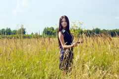 Beautiful woman with long dark hair standing in sunny cornfield Royalty Free Stock Image